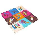 MQIAOHAM 9 Stücke Schaum Spielmatte Kinder Kinder Baby Weiche Eva Schaum Aktivität Tier Puzzle Spielmatte Teppich Spielzimmer Bodenfliesen (Instrument, 11,8x11,8x0,4 Zoll) P009G3010