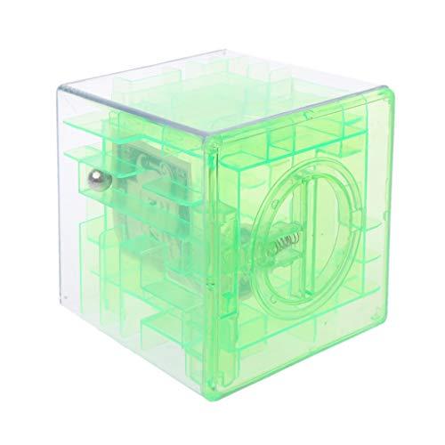 LDA GET Fresh 3D Würfel-Puzzlespiel-Geld-Labyrinth-Bankeinsparungs-Münzsammlungs-Kasten-Kasten-Spaß-Gehirn-Spiel-Kindergeschenke-Grün