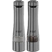 Russell Hobbs 23460-56 Classics - Molinillos de sal y pimienta con grosor molienda graduable y sistema molido cerámico, color plateado