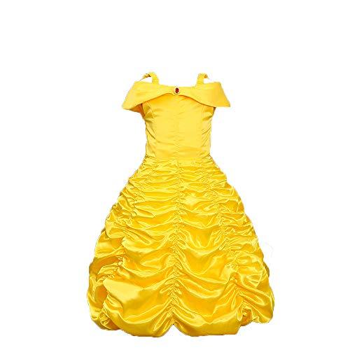 Kostüm Belle Wünsche 3 - Vokaer Prinzessin Bell Deluxe Party schulterfrei Kostüm Kleid, Halloween Cosplay KostümGelb