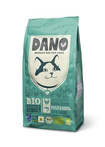 DANO Nourriture Bio Sèche pour Chat - Croquettes pour Chat au Poulet Bio, Hareng Label MSC, Pois et Orties sans Céréales - Alimentation Complète et Saine pour Chats Adultes - 800g