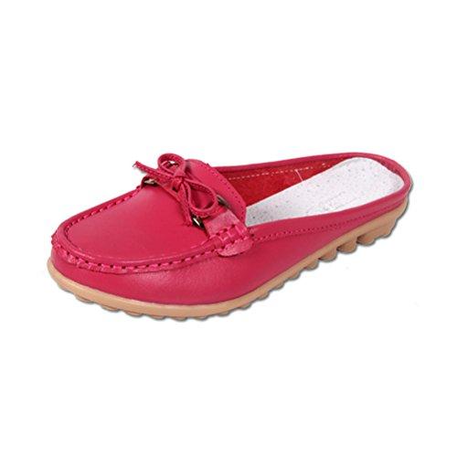 Damen Sommer Kühle Oxford Sohle Anti-rutsch Erbsenschuhe Slip On Bowknot Glattleder Günstige Lässige Sandalen Slippers Zehentrenner Rot