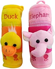 Shopcash Newborn Baby Feeding Bottle Cover with Soft & Attractive Fancy Cartoon Set of 2 Colors & Designs-(Duck & Elephant)