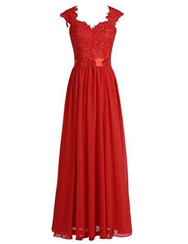 Dresstells Damen Lang Abendkleider Elegant Chiffon Brautjungfernkleider Rot