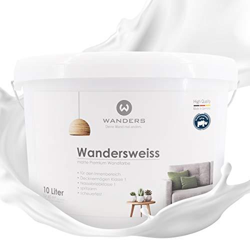 Wanders24® Wandersweiss (10 Liter, Weiß) Wandfarbe weiß hohe Deckkraft - Wandfarbe weiss - DIN13300 - Deckv. 1 - Nassab. 2 - Made in Germany