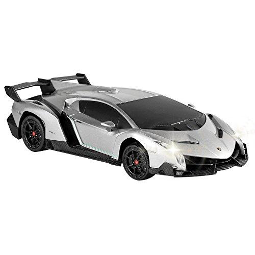 QUN FENG Elektrische RC Auto-Lamborghini Veneno Radio Fernbedienung Fahrzeug Sport Racing Hobby Grade Lizenzierte Modell Auto 1:24 Skala für Kinder Erwachsene (Grau)