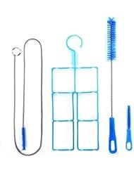 Kit de Nettoyage 4 en 1 avec 3 Brosses Ecouvillons Différent Cadre Pliable pour Tuyau Sac d'Hydratation Poche à Eau