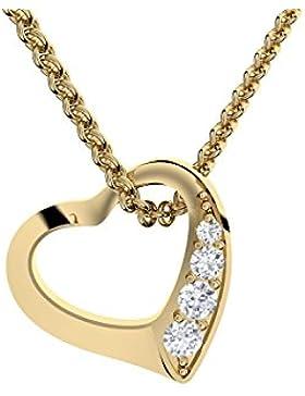 Herzkette Gold von AMOONIC mit *SWAROVSKI Zirkonia* **Silber 925 hochwertig vergoldet** Kette Zirkonia Damen Herzanhänger...
