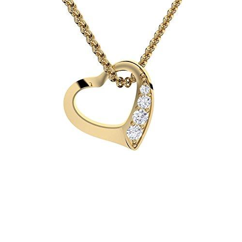 Valentinstag Geschenk für Sie Herzkette Gold von AMOONIC mit * Zirkonia Silber 925 vergoldet* ++Für die schönste Frau der Welt++ Gold-Kette Herz Schmuck Freundin Frauen FF02VGGGZIFA45-3