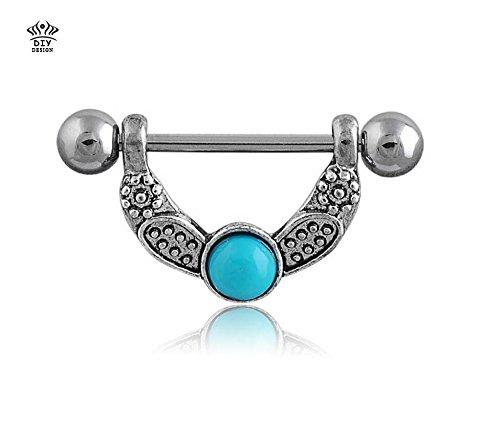Brolux(TM) Einzelhandel 2 St¨¹cke / Los Engelsfl¨¹gel Nippel Ring Piercing Modeschmuck 14G 316L chirurgischer Stahlstab nickelfrei