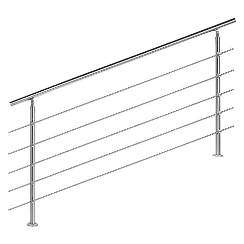 Rampe escalier Acier inoxydable 5 Tiges 180cm Rambarde Main Courante Balustrade