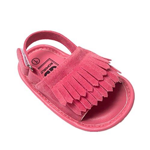 Auxma Baby Mädchen Kleinkind Sommer Quaste Binden Schuhe Soft-Soled Prinzessin Firstwalker Leder Sandalen (6-12 M, Weiß) Rose rot
