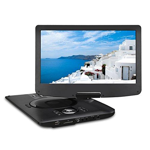 """Pumpkin 12.5"""" HD Reproductor de DVD Portátil (4000mAh Batería Interna, USB, SD) Con Cargador de Coche y Bolsa de Mano, Negro"""