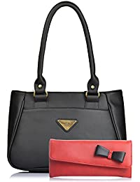 Fostelo Women's Combo Handbag & Clutch (Black & Red) (FSB-1083-FC-04)