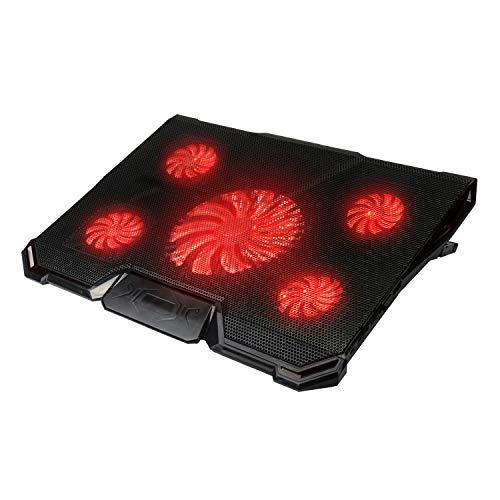 Tkoofn Laptop Kühler Cooling Pad (bis zu 17 Zoll), Ultra Leise Notebook Cooler Ständer Kühlpad Kühlmatte mit 5 Lüfter Ventilatoren, 2 USB-Anschlüssen, 7 Höheverstellbar & Rotes LED Licht