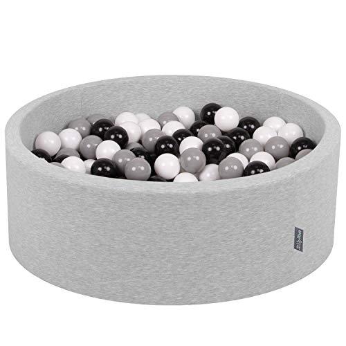 KiddyMoon 90X30cm/200 Balles ∅ 7Cm Piscine À Balles Pour Bébé Rond Fabriqué En UE, Gris Clair: Blanc-Noir-Gris
