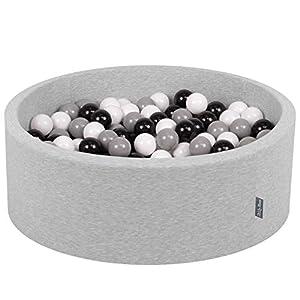 KiddyMoon - Baño para bebés, 90 x 30 cm, 300 Bolas, diámetro de 7 cm, con Bolas de Colores, Redondo,, Gris Claro, Blanco, Negro y Gris