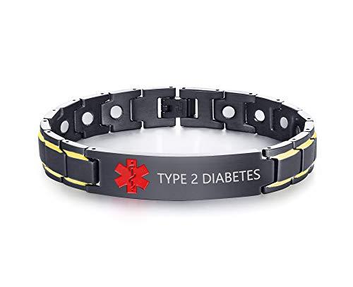 PJ JEWELRY Typ 2 Diabetes Schwarz Ion Überzogene Edelstahl Magnetische Therapie Gesundheit Emergment Medical Alert ID Armbänder für Männer Papa, 8,6