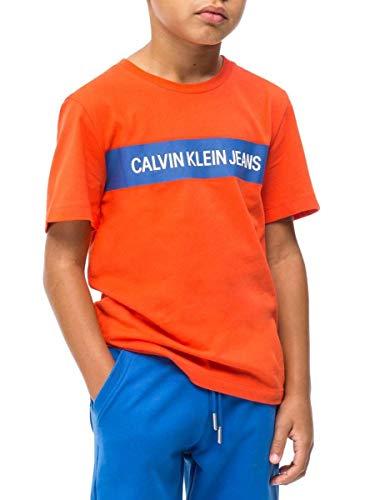 Calvin klein t-shirt box logo orange bambino 16 arancione