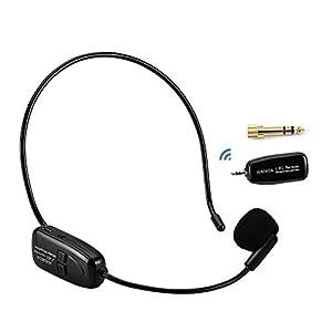 XIAOKOA 2.4G Wireless Microphone, 40m Stabile di trasmissione senza fili, una cuffia e il palmare 2 in 1, per voce Amplificatore, Facebook, Altoparlanti (N-80)
