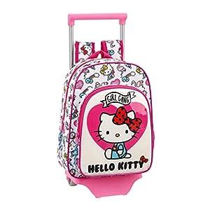 41hD4d5yMPL. SS300  - Hello Kitty Mochila Pequeña Ruedas, Carro, Trolley, Rosa, 34 cm