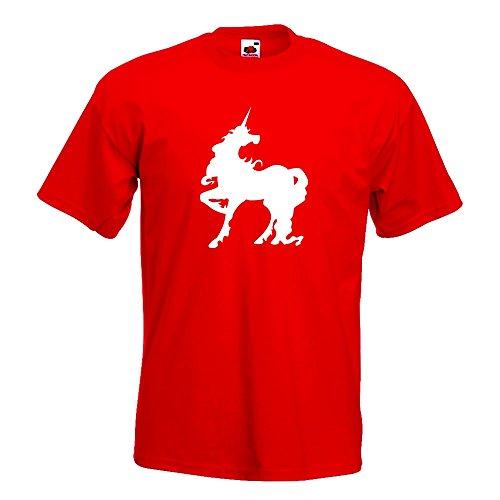 KIWISTAR - Einhorn T-Shirt in 15 verschiedenen Farben - Herren Funshirt bedruckt Design Sprüche Spruch Motive Oberteil Baumwolle Print Größe S M L XL XXL Rot
