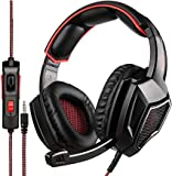 SADES [2018 Neueste updately SA920 Wired Stereo Gaming Headset Over-Ear-Kopfh?rer mit Mikrofon f¨¹r Neue Xbox One/PS4/PC/Zelle Ladekabel, Schwarz/Rot