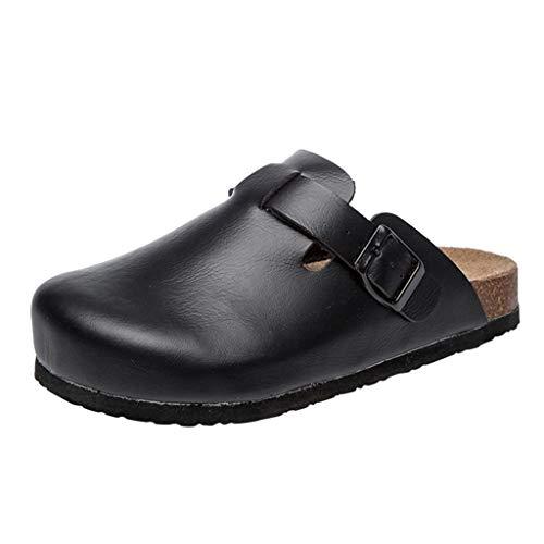 Yvelands Damen Sandalen Cork Slippers Women Sliders Mule Sandals Slip On Flat Open Toe Flip Flops(Schwarz,40)