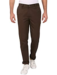 Barata Dobby Men's Brown Trouser Regular Fit, 100% Cotton Trouser For Men