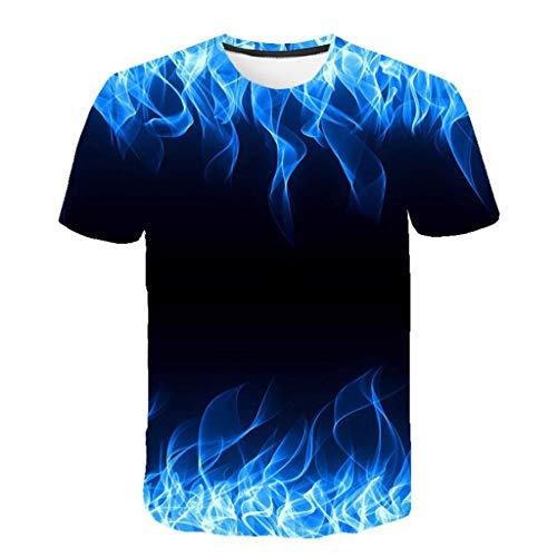 Xmiral T-Shirt Herren 3D Blau Gedruckt Kurzarm O-Ansatz Oberteile Atmungsaktives Sportshirt Komfortables kurzärmliges Funktionsshirt(Schwarz,L)
