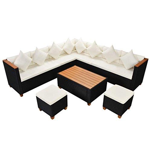 Chloe Rossetti 29 pièces Blanc crème Coussin de canapé de jardin en poly rotin polywood/WPC Top Noir extérieur Canapé Chaises avec accoudoirs et de table TOPS