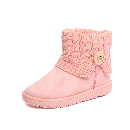 Shukun Stiefeletten Schneestiefel Warme Stiefel in der Tube Frosted Cotton Shoes Pink, Pink, 38