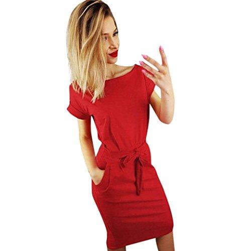 Lilicat Damen Casual Kleid Sommer Kleid Mit Tasche Damen Kurzarm Abendkleid Partykleid Minikleid Midikleid Strandkleid Retro Vintage Elegant Rundhals Kleid Sport Kleid (S, Rot)