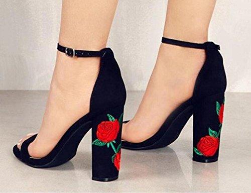 HYLM I pantaloni femminili dei sandali di ricamati con i sandali degli alti talloni Vestito da cerimonia nuziale dei pattini di cerimonia nuziale Grandi formato 34-43 Black