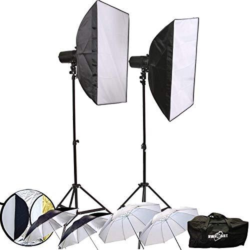 Hwamart ® 300W (150W x 2) Professionelle Fotografie Studio-Blitzlicht Strobe-Beleuchtung Kit für Porträtfotografie, Studio und Video Shoots Kit 150w Flash