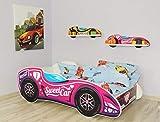 Alcube | Kinderbett Auto-Bett Formel 1 - Sweet Car | 140 x 70 cm | mit Rausfallschutz, Lattenrost und Matratze | MDF beschichtet