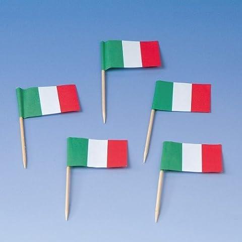 200 Flaggenpicker * ITALIEN * // Party italienische Farben Grün WEISS ROT Weltmeisterschaft Fussball Holzpicker Deko WM Italy