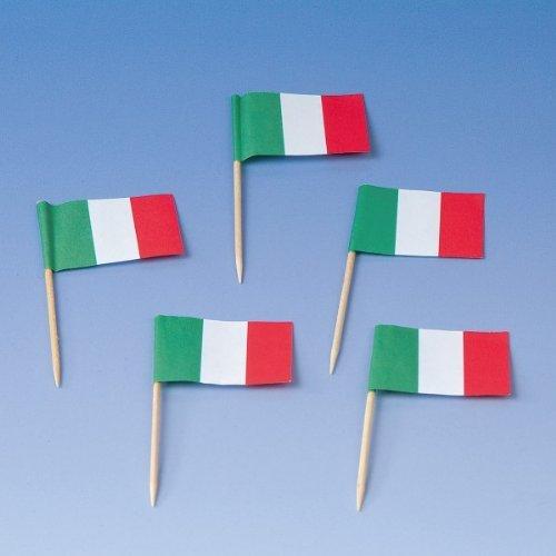 Preisvergleich Produktbild 200 Flaggenpicker * ITALIEN * // Party italienische Farben Grün WEISS ROT Weltmeisterschaft Fussball Holzpicker Deko WM Italy