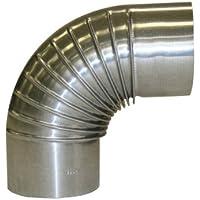 Kamino-Flam 331200 Bogenknie silber, Winkel von 90°, Abgasrohr aus feueraluminiertem Stahl, rostfreier Rohrbogen, geprüft nach Norm EN 1856-2, Durchmesser: ca. 120 mm