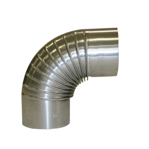 Kamino Flam Bogenknie silber, Winkel von 90°, Abgasrohr aus feueraluminiertem Stahl, rostfreier Rohrbogen, geprüft nach Norm EN 1856-2, Durchmesser: ca. 130 mm