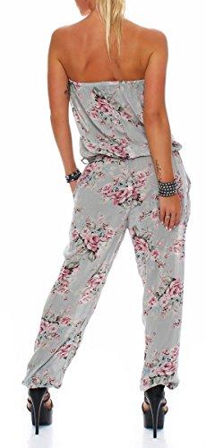 malito Damen Einteiler geblümt | Overall mit Stoffgürtel | Jumpsuit mit Blumenmuster �?Playsuit �?Romper 1495 oliv 2