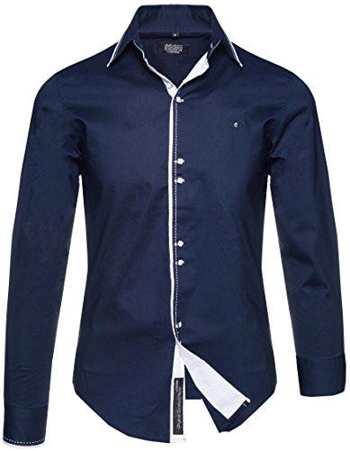 Carisma - camicia casual - tinta unita - classico - manica lunga - uomo blu navy xxxl