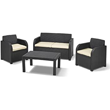 Keter Carolina Outdoor 4 Seater Rattan Lounge Table Garden Furniture Set - Graphite with Cream Cushions
