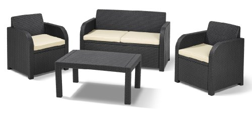 Allibert 201391 Lounge Set Carolina Set, Rattanoptik, Kunststoff, anthrazit