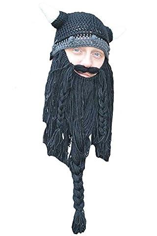 Queenshiny® Kopf Barbar Vagabond Beanie Original Foldaway Bart Hüte Halloween Viking Horns Bärtige Caps (Schwarz lang)