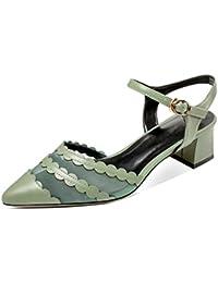 Xue Qiqi Court Schuhe Spitze Sandalen mit Einem Wort mit leeren Schuhe Nach der Frau mit Niedrigen Baotou Schuhe...