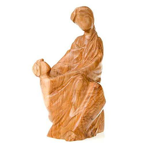 Estatua de Virgen con el Niño en Madera de Olivo