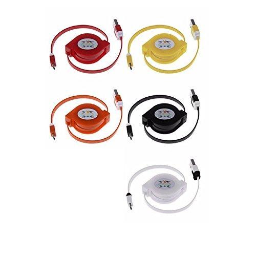 5Stück Multicolor ausziehbar Micro USB Flach Ladekabel/Datenkabel/Kabel für Android-Telefone (5x) - Bild 4