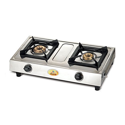 Bajaj Popular Eco 2 Burner Gas Stove, Silver