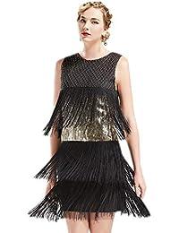 ArtiDeco 1920s Charleston Kleid Damen Knielang Cocotail Party Kleid 20er Jahre Flapper Damen Gatsby Kostüm Kleid